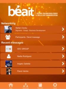 Schermata della sezione Networking dell'app di Digivents