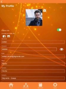 Schermata di configurazione del profilo dell'app di Digivents