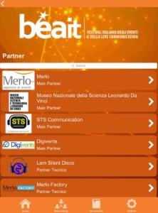 Sezione Partner dell'app di Digivents per BEA