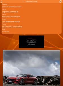 pagina di votazione per la campagna Mercedes-Benz Grand Tour