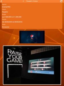 Pagina di votazione per la campagna Pepsi Max Volley360 - Finale Uefa Champions League
